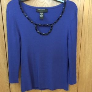 Sweaters - Cable & Guarge Blue Loophole Sweater